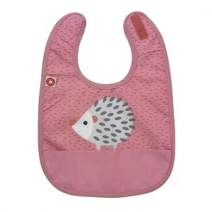 Eat pink hedgehog bib