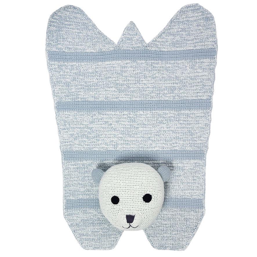 Nellie Polar Bear Hand-crochet Organic Rug