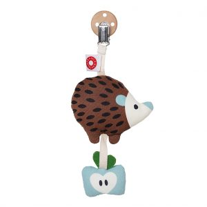Tinka brown hedgehog clip rattle