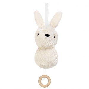 Aura off-white rabbit musical toy