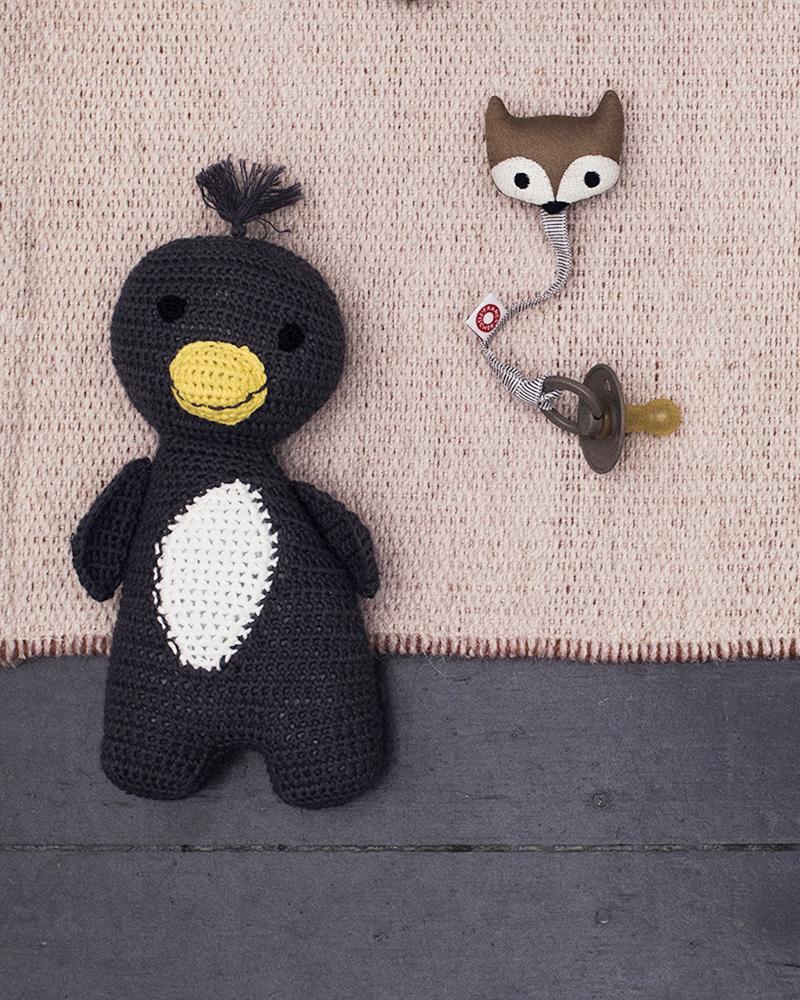 Ring grey fox, soother holder, amigo penguin cuddly animal, grey, yellow, white